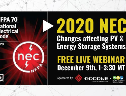 FREE WEBINAR: 2020 NEC Changes Affecting PV & Energy Storage Systems