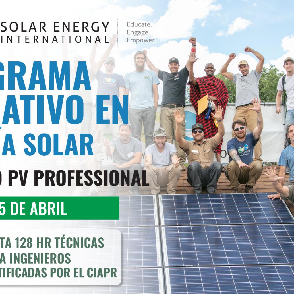 Programa Educativo en Energía Solar del CIAPR Y SEI - Solar Energy International (SEI) - Cursos de Energía Solar para la Fuerza Laboral
